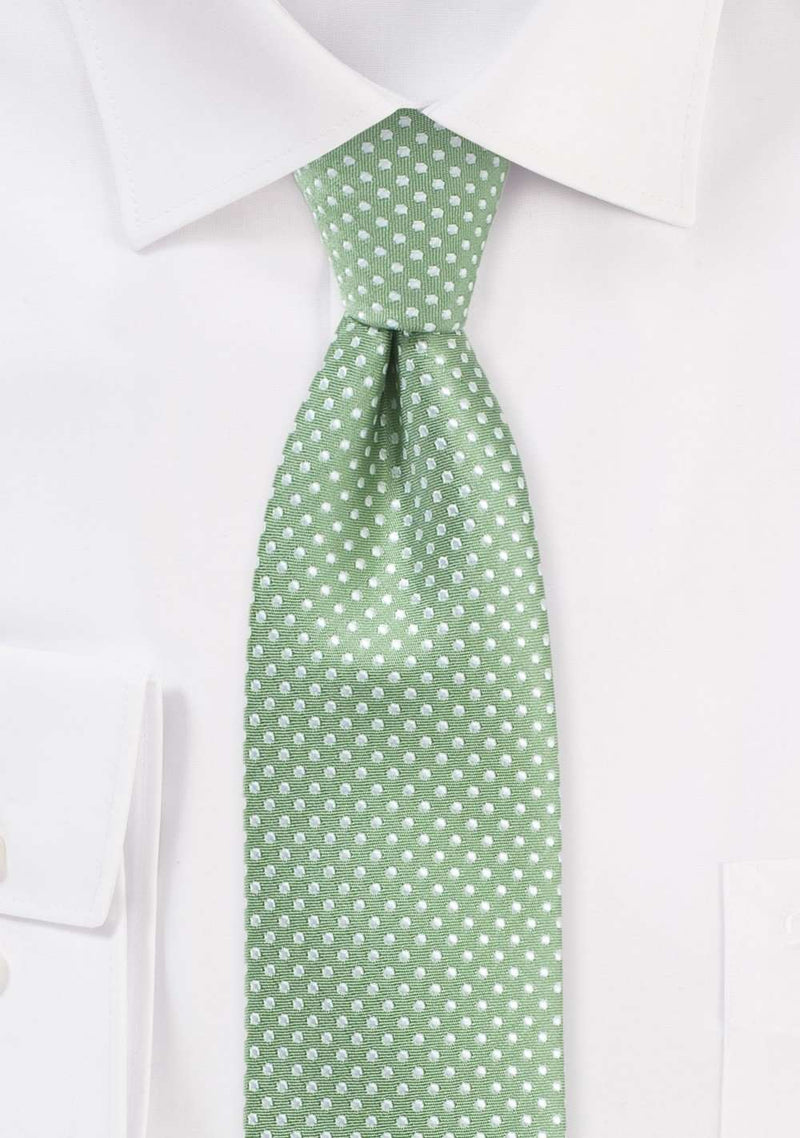 Sage Pin Dot Necktie