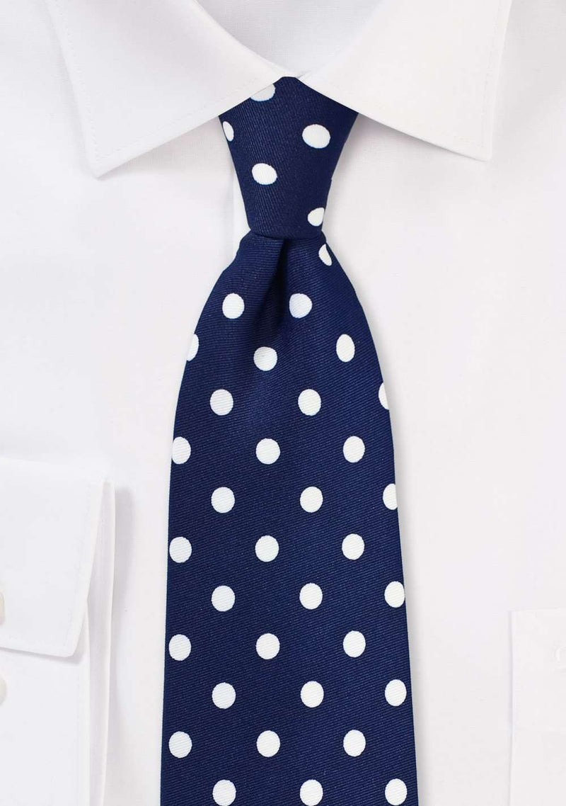 Navy and White Polka Dot Necktie