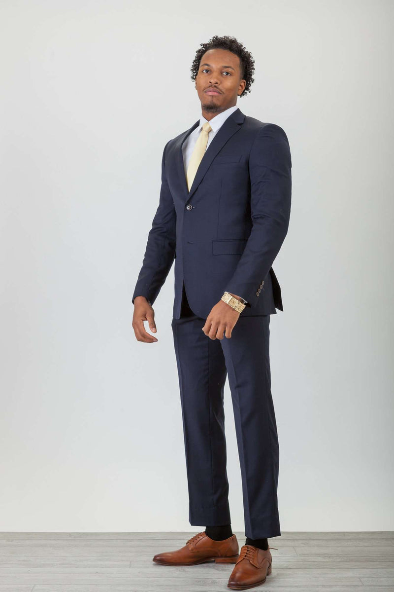 Navy Wool Stretch Suit
