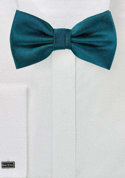 Teal Oasis Herringbone Bowtie - Men Suits