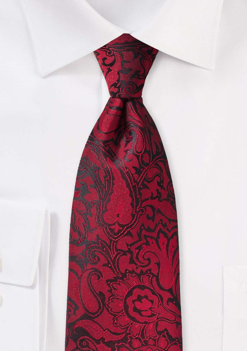 Chili Red Floral Paisley Necktie