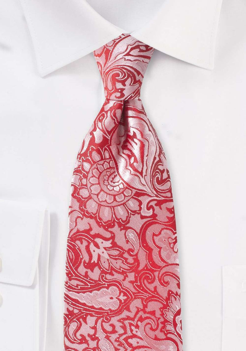 Vivid Poppy Floral Paisley Necktie - Men Suits