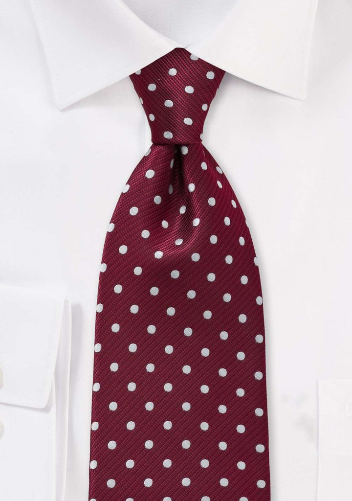 Burgundy and White Polka Dot Necktie - Men Suits