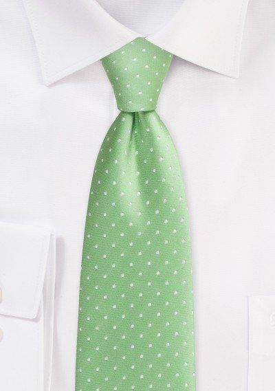 Soft Green Polka Dot Necktie