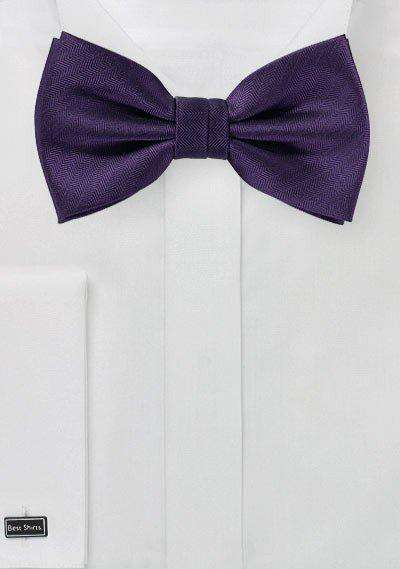 Regency Purple Herringbone Bowtie