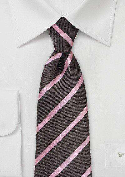 Espresso and Pink Repp&Regimental Striped Necktie
