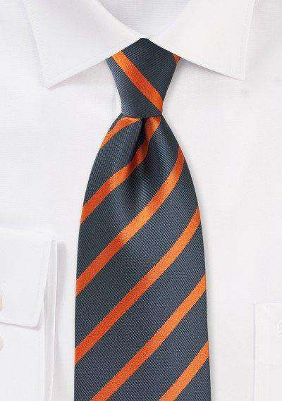 Gray and Orange Repp&Regimental Striped Necktie - Men Suits