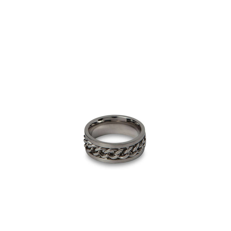 Braided Silver Chain Ring - Men Suits