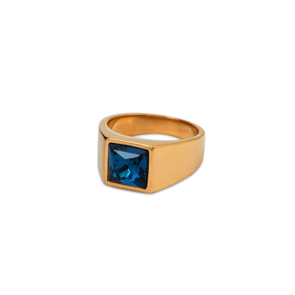Embedded Crystal Gold Ring - Men Suits