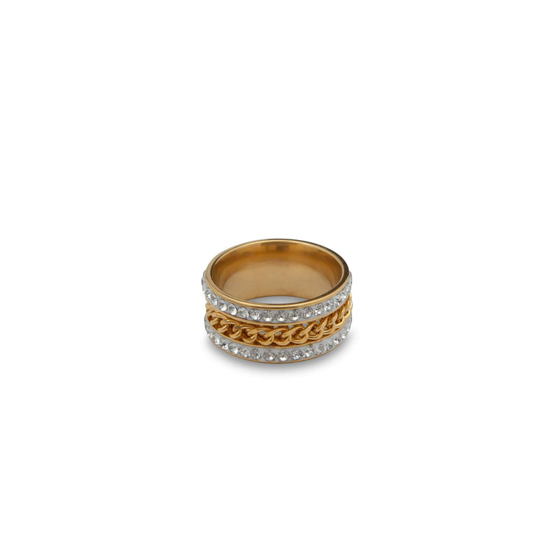DIamond Bezzled Braided Gold Chain Ring