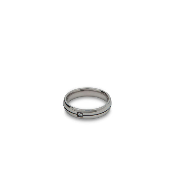 Silver Band with Embedded Diamond Ring - Men Suits