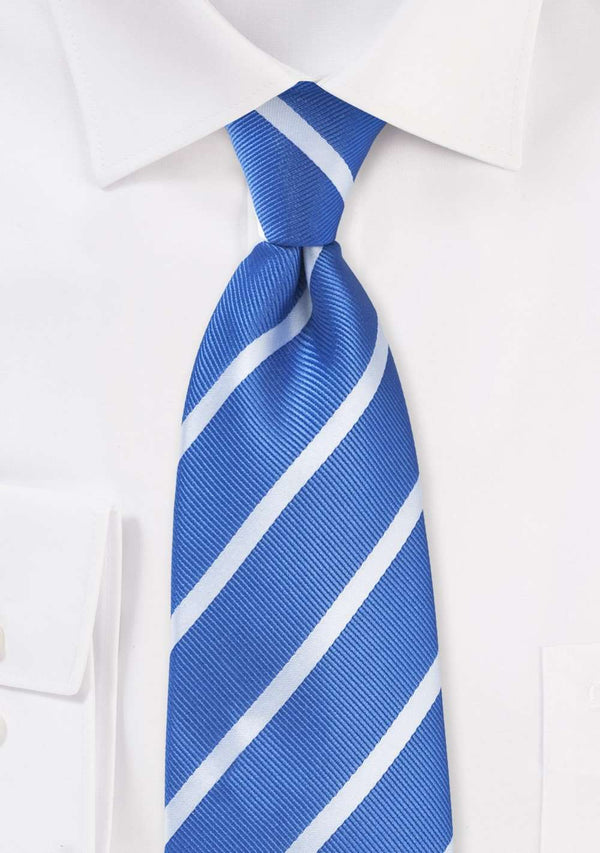 Riveria Blue and White Narrow Striped Necktie - Men Suits