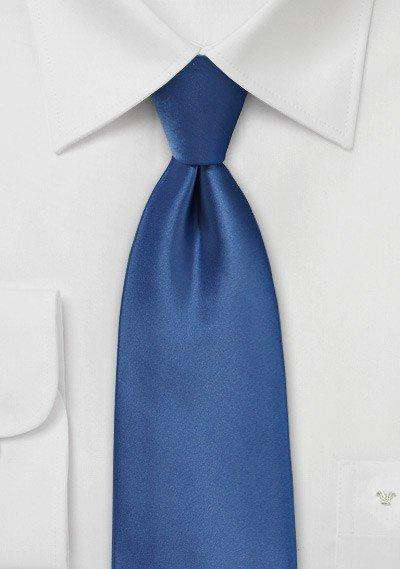 Classic Blue Solid Necktie - Men Suits