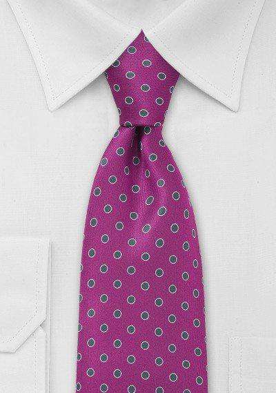 Hot Pink and Silver Polka Dot Necktie - Men Suits