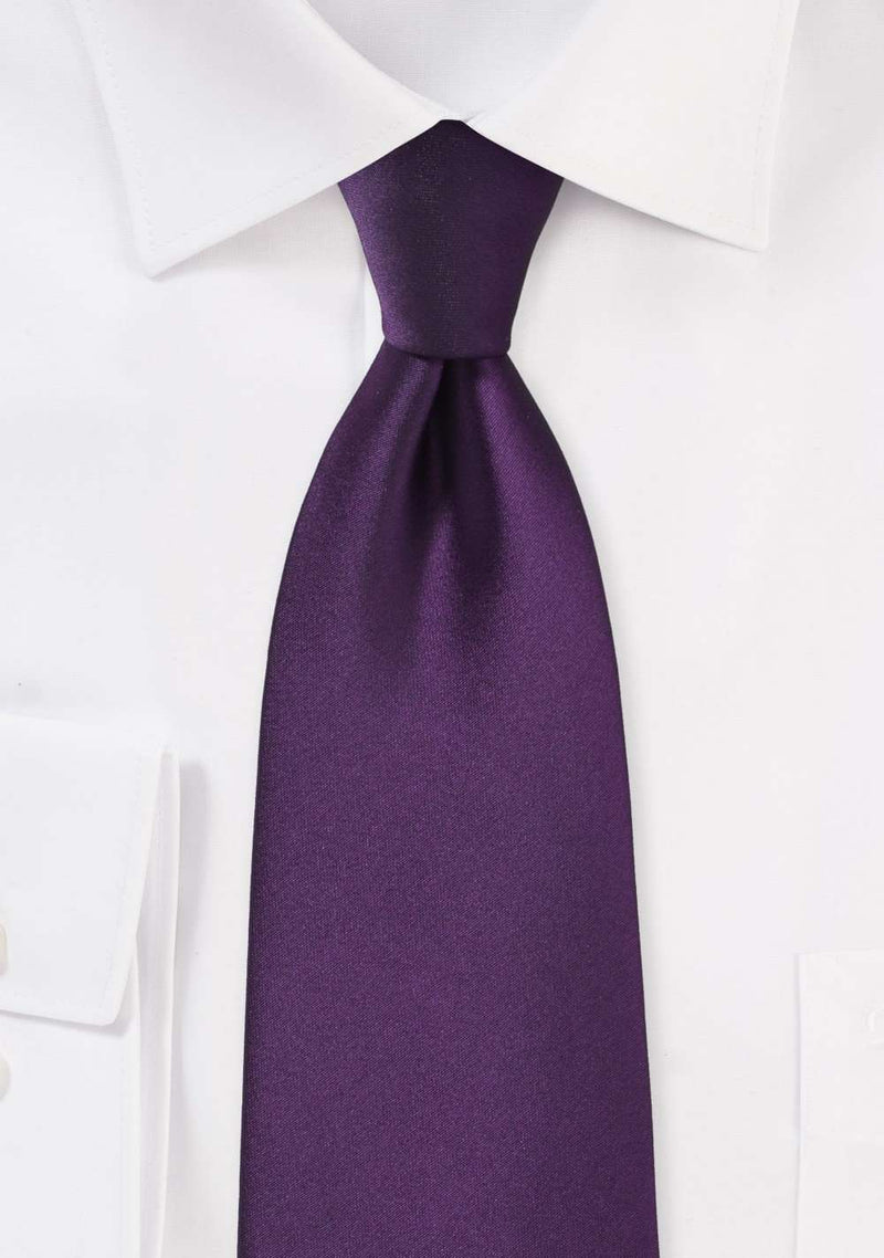 Eggplant Solid Necktie - Men Suits