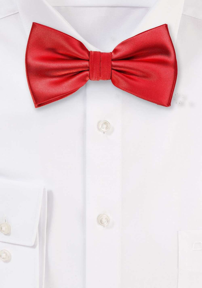 Bright Red Solid Bowtie