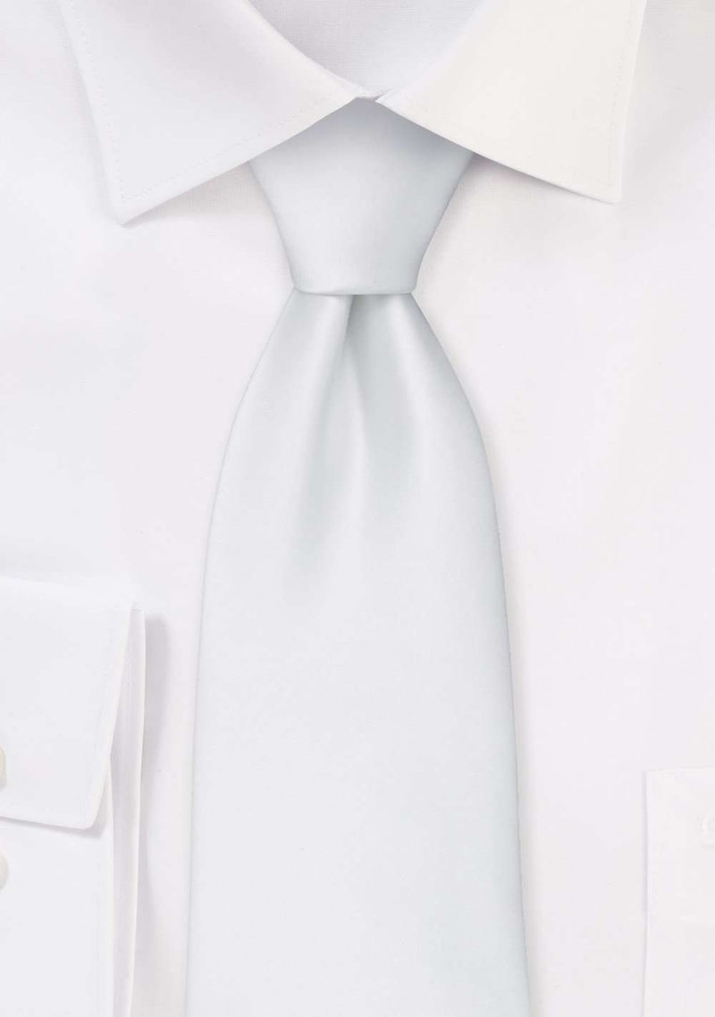 White Solid Necktie - Men Suits