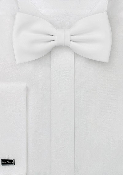 White Solid Bowtie - Men Suits