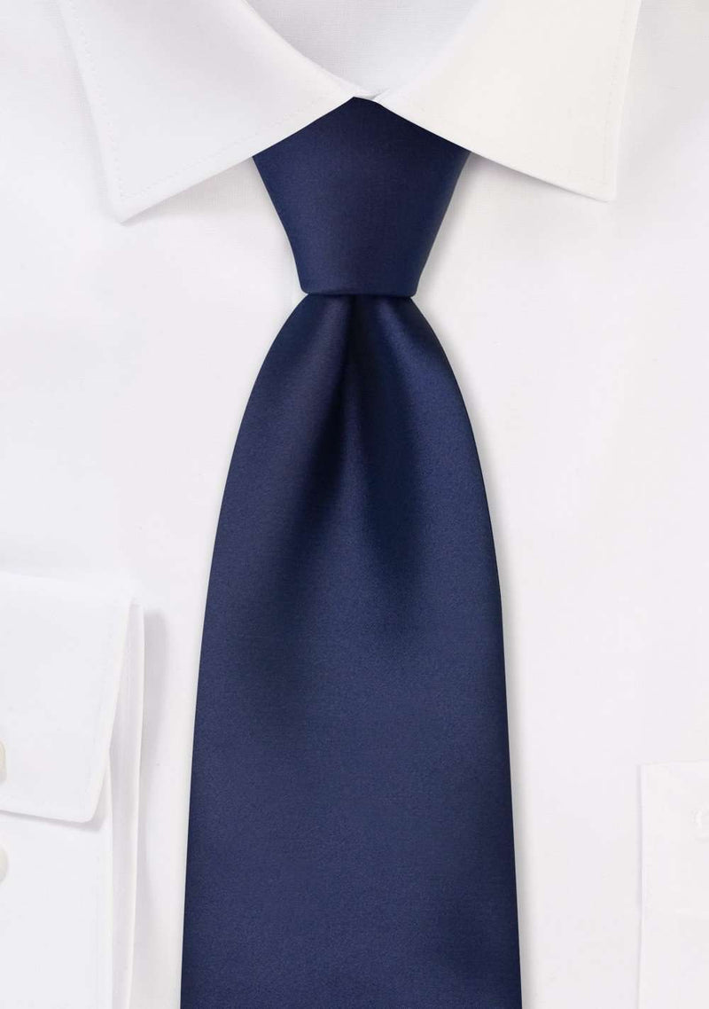 Navy Solid Necktie - Men Suits