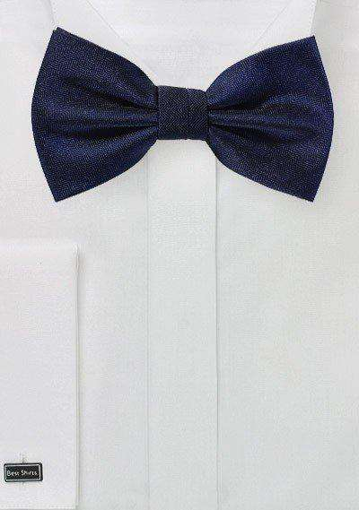 Midnight Blue Herringbone Bowtie - Men Suits