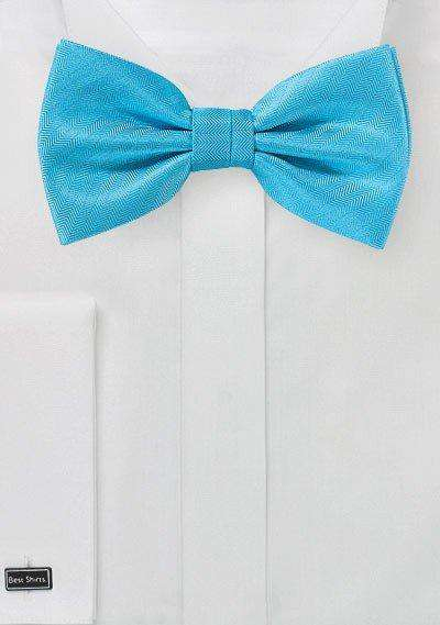 Cyan Blue Herringbone Bowtie - Men Suits