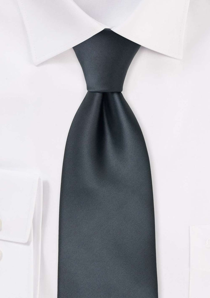 Smoke Gray Solid Necktie - Men Suits