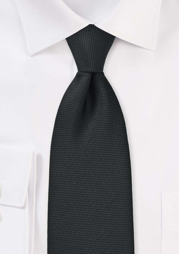 Matte Black MicroTexture Necktie - Men Suits