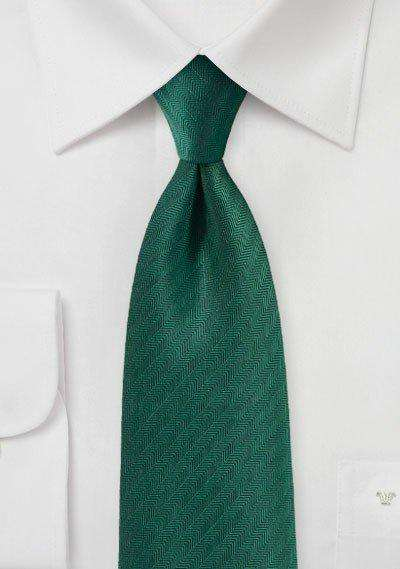 Hunter Green Herringbone Necktie - Men Suits