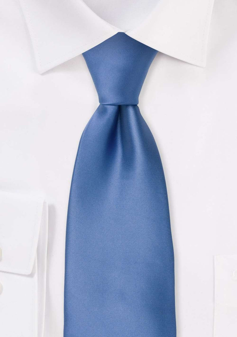 Riviera Blue Solid Necktie - Men Suits