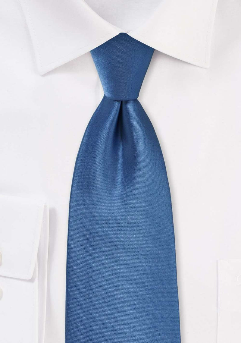 Steel Blue Solid Necktie - Men Suits