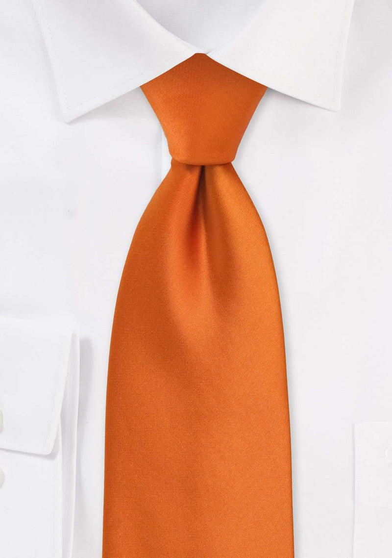 Orange Solid Necktie - Men Suits