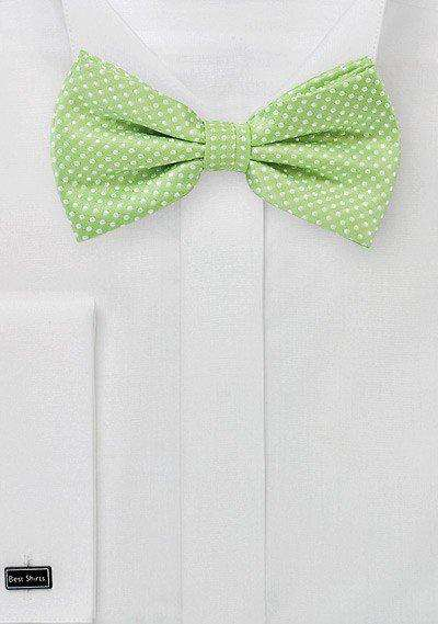 Spring Green Pin Dot Bowtie - Men Suits