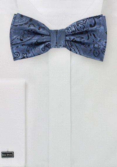 Steel Blue Proper Paisley Bowtie - Men Suits