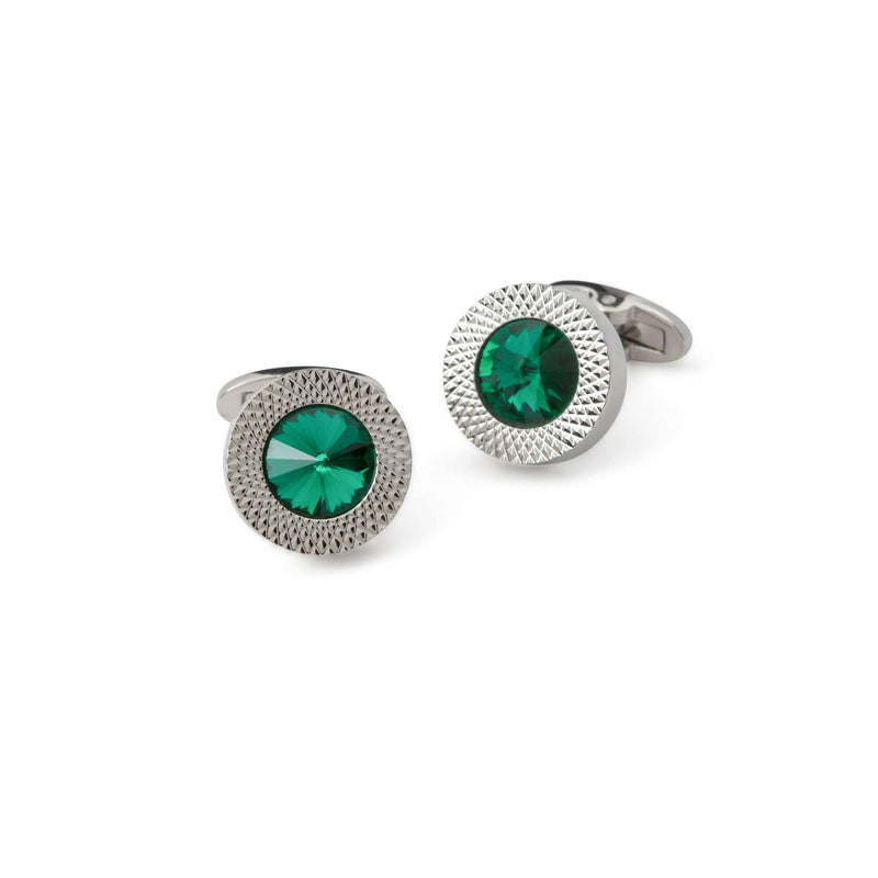 Green Emerald Bezzled Cufflinks - Men Suits