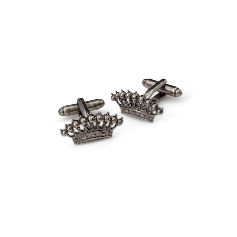 Gun Metal Crown Cufflinks - Men Suits