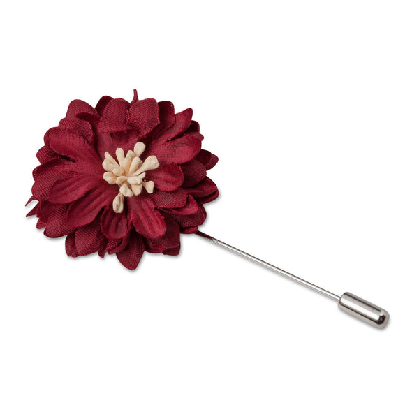 Burgundy Flower Lapel Pin - Men Suits