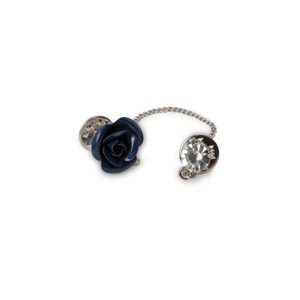 Navy Flower with Chain Lapel Pin - Men Suits