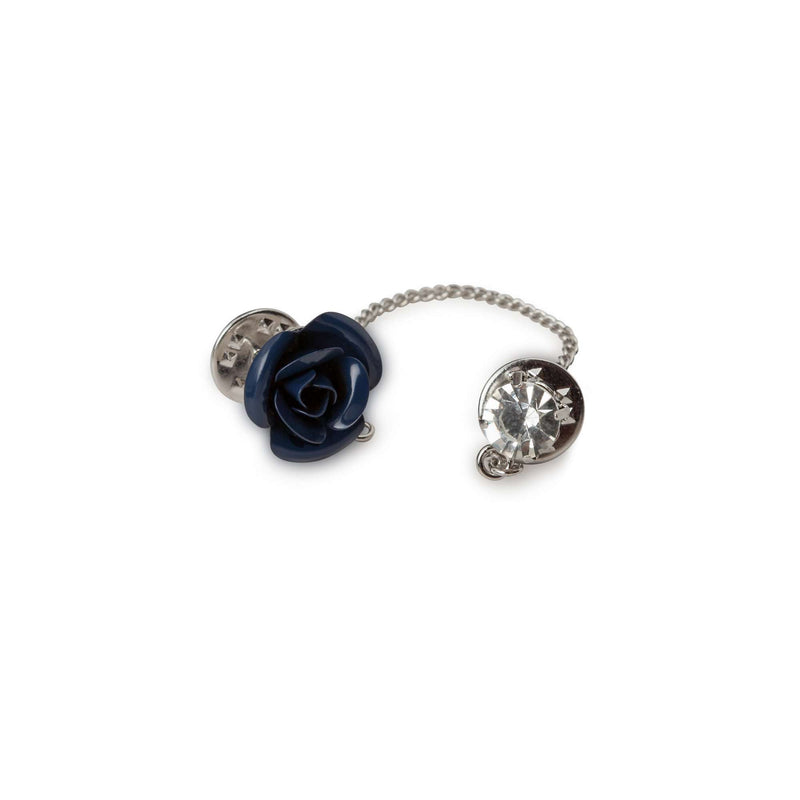 Navy Flower with Chain Lapel Pin