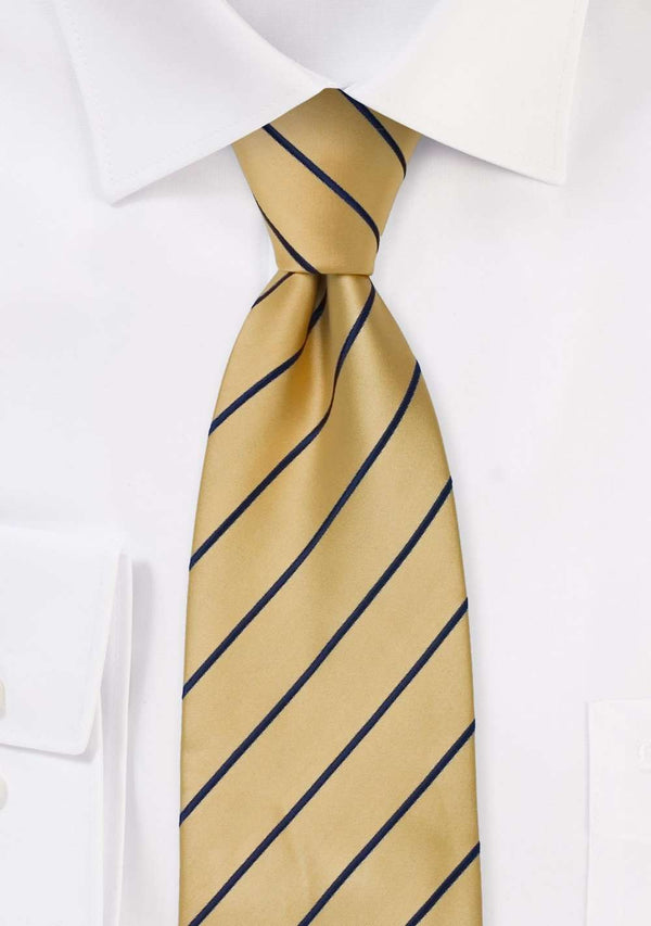 Yellow and Navy Narrow Striped Necktie - Men Suits