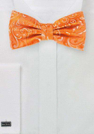 Mandarin Orange Proper Paisley Bowtie - Men Suits