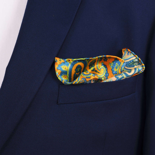 Swirling Paisley Pocket Square - Men Suits