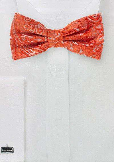 Tiger Lily Orange Proper Paisley Bowtie