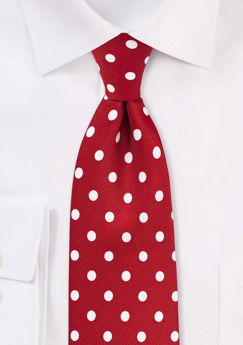 Tomato Red and White Polka Dot Necktie - Men Suits