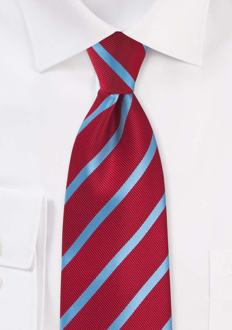 Tomato Red and Cornflower Blue Repp&Regimental Striped Necktie