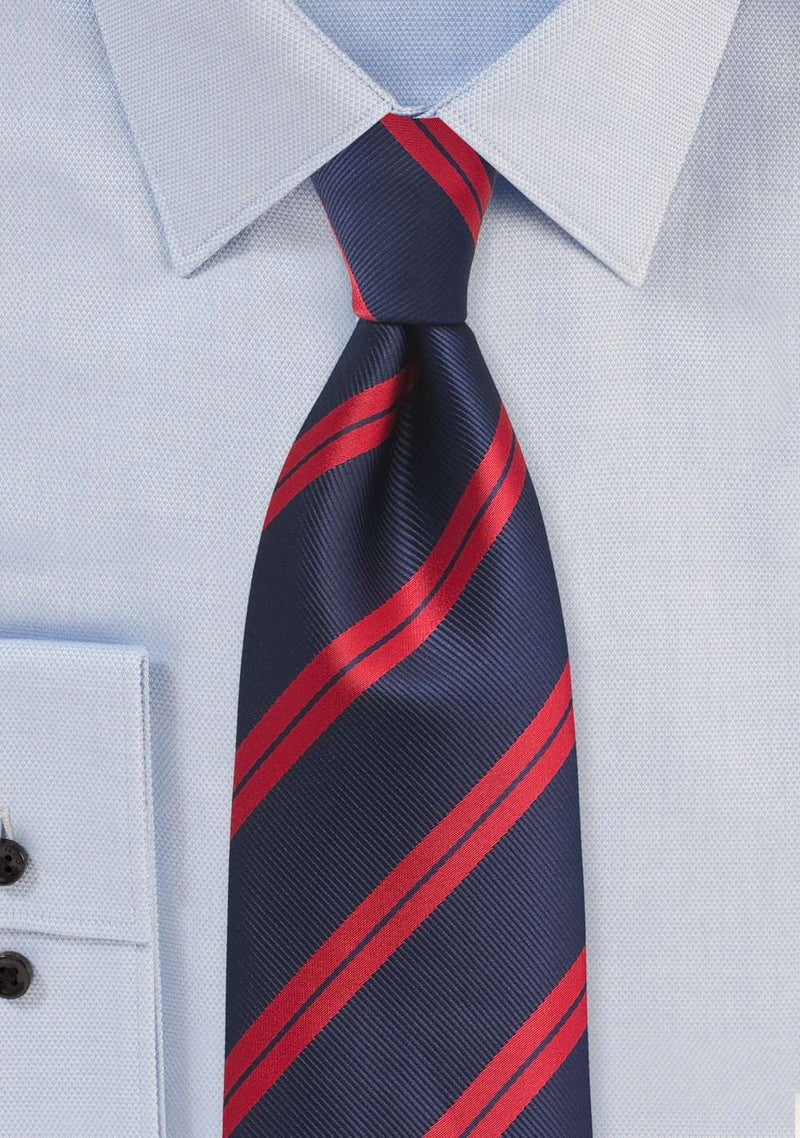 Classic Red and Blue Narrow Striped Necktie