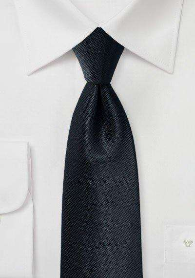 Jet Black Small Texture Necktie - Men Suits