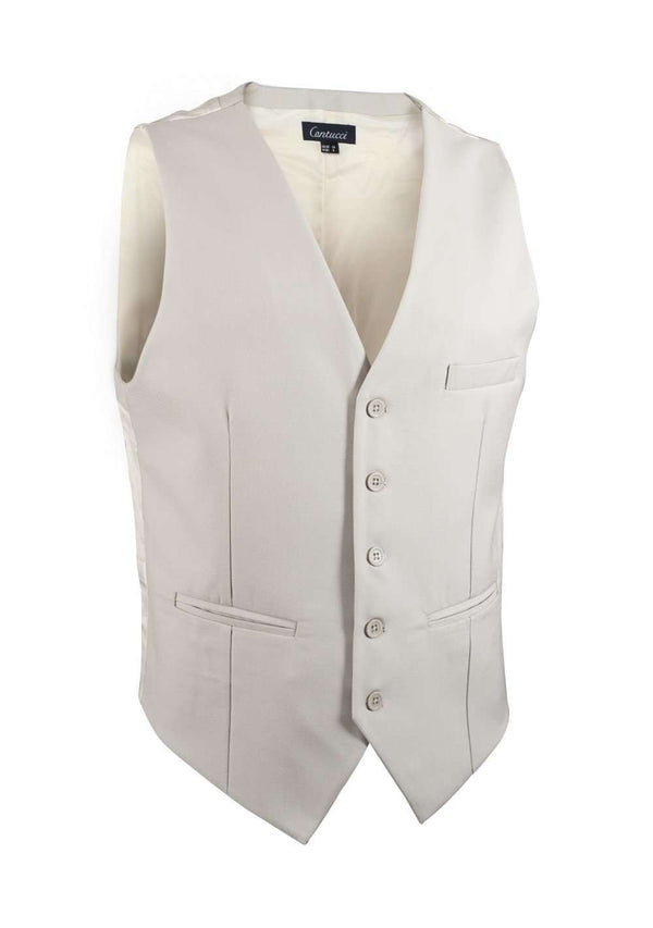 Tan Solid Vest - Men Suits