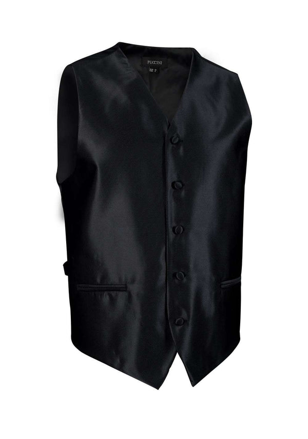 Jet Black Solid Vest - Men Suits