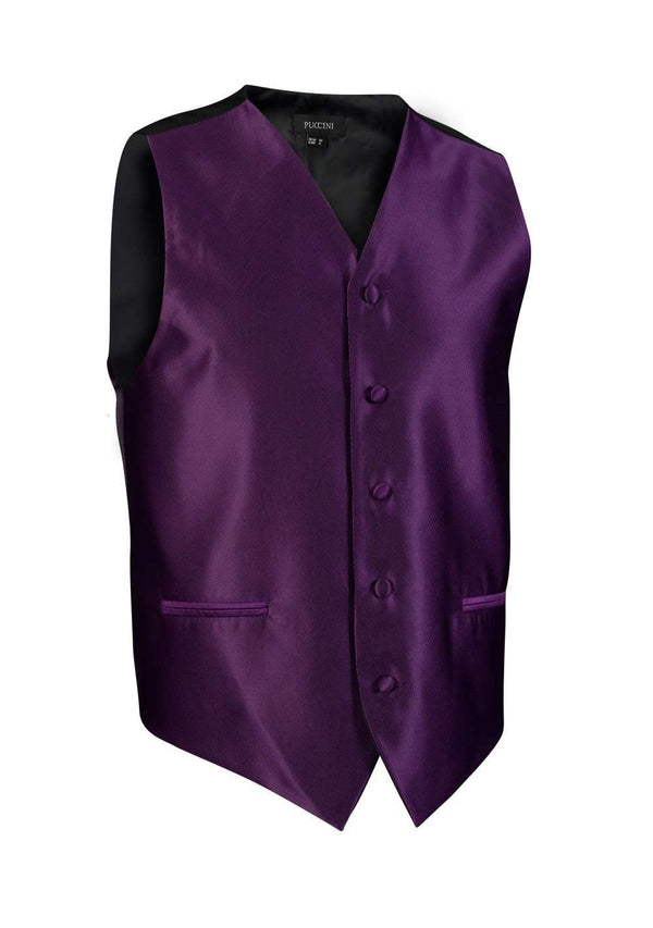 Plum Solid Vest - Men Suits