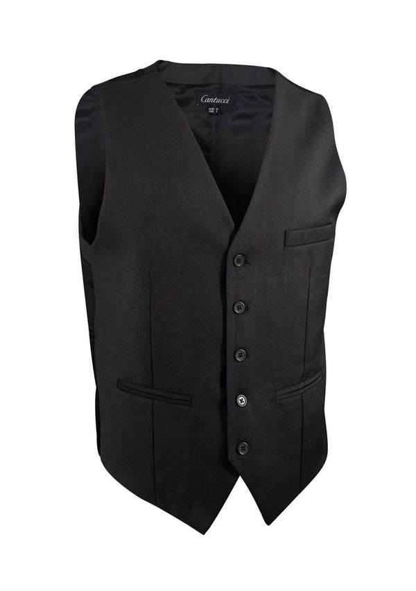 Charcoal Solid Vest - Men Suits